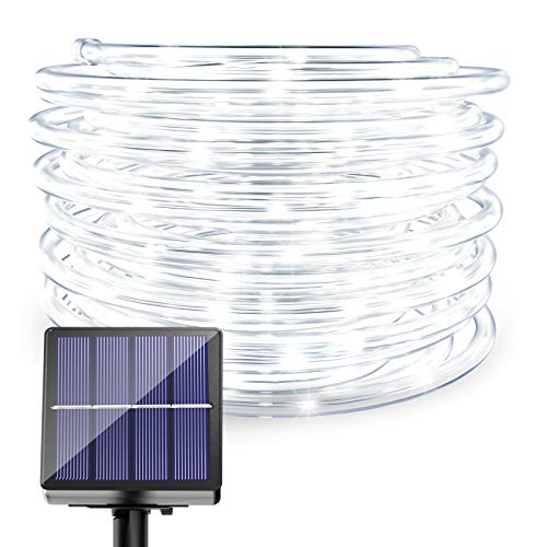 Solar Powered LED Rope Lights - 40FT 8 Modes 100 LED Solar 0utdoor Rope String Lights Waterproof Tube Light Copper Wire Fairy Lights for Garden Camping Fence Yard Balcony Wedding Decor (Cool White)