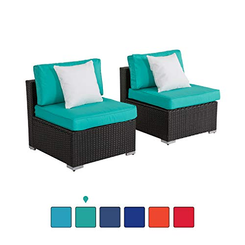 Outdoor Loveseat 2 PCs Patio Furniture Set, Wicker Armless Sofa Chairs Black Rattan Thick Cushions Infinitely Combination