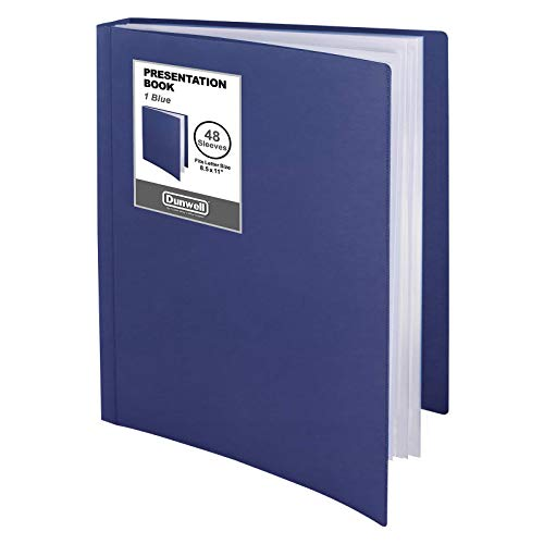 Dunwell Binder with Plastic Sleeves - (Blue), 48-Pocket Bound Presentation Book with Clear Sleeves, Displays 96 Pages of 8.5x11 Letter Size Documents, Sheet Music, Sheet Protector Binder