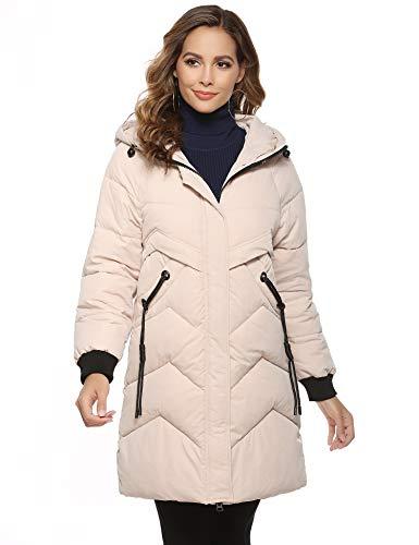 Aibrou Cappotto Invernale da Donna Giacca Parka con Cappuccio Cardigan Lungo Elegante Trench Jacket Outwear