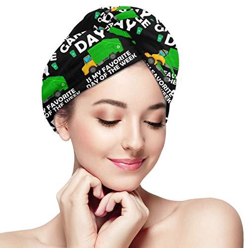 ALaze Le Jour des ordures est Mon Jour préféré de la Semaine Chapeau de Cheveux secs en Microfibre Bonnets de Douche Serviette de Bain Turban