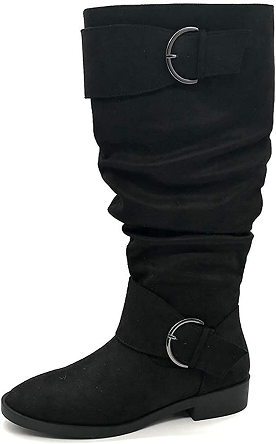 Gedigits Women's Stylish Buckle Strap Round Toe Low Heel Side Zipper Slouchy Over The Knee Boots Black 5 M US