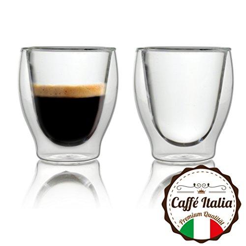 Caffà Italia Milano 2 x 60 ml Doppelwand-Thermo-Gläser - für Espresso Tee Heiß- und Kaltgetränke - spülmaschinengeeignet