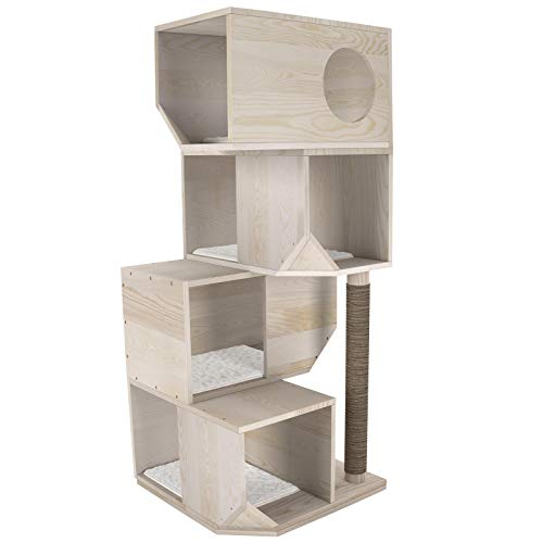 GDLF 49' Modern 4 Tier Solid Wood Deluxe Cat Tree Furniture Condo Tower Scratching Post