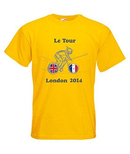 360 Tour – Le Tour London 2014 – T-Shirt de Cyclisme Taille S au 2 x L - Jaune -