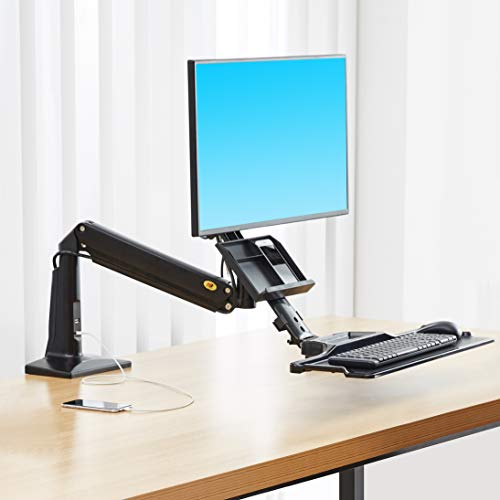 NB North Bayou Sit Stand Desk Converter Height Adjustable Standing Desk Workstation for 22''-35''...