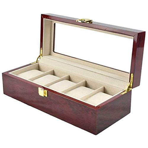 ANZRY Watch Storage Box 5 Slot Top Watch Jewelry Display Box Watch Box Organizer with Glass Display for Storing Watches and Jewellery