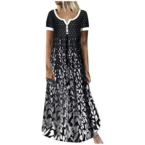 Damen Strandkleider, Mode Frauen Loose Contrast Print Kurzarm V-Ausschnitt Casual Long Dress Sommerkleid Lose Midikleider Lange Kleider Partykleid GroßE GrößEn