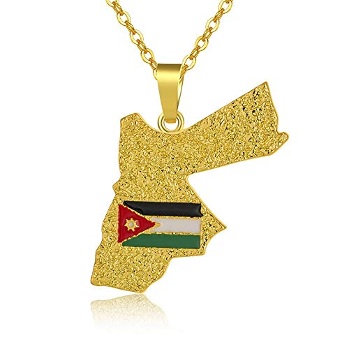 HJMKL Map Necklace,Charm Design Hashemite Kingdom Jordan Flag Contour Golden Map Pendant Necklace Unique Ethnic Jewelry For Unisex Patriotic Travel Commemorate Various Occasions Gift,50Cm Thin Chain