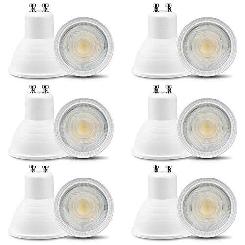 Jenyolon Pack de 12 bombillas LED GU10, 6 W, 220-240 V, blanco neutro 4000 K, 600 lm, repuesto para bombillas halógenas de 50-60 W, no regulable, GU10, bombilla pequeña de luz de 30°