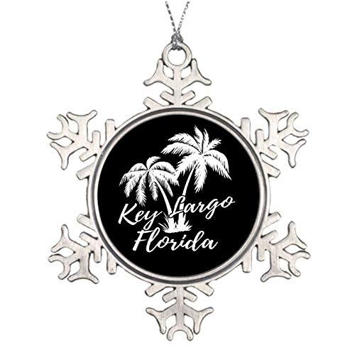 Christmas Ornaments, Key Largo Florida Palm Trees Beach Pewter Ornament, Snowflake Ornament Tree Hanging Decor Gift,3 Inch