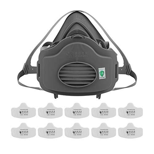 Máscara antipolvo, Respirador antipolvo para construcción anti industrial polen, neblina, gas protección del sitio familiar y profesional(02#)