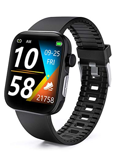 DFG Smart Watch HRV Activity Tracker Blood Oxygen Meter Heart Rate Blood Pressure Monitor Waterproof Fitness Tracker Watch with Sleep Monitor Smart Band Calories Pedometer for Women Men (Black1)