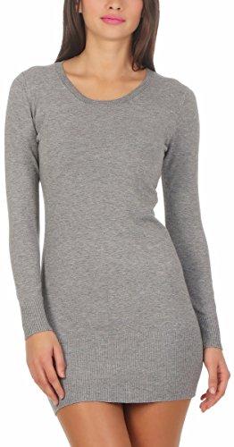 Fashion4Young 10963 Damen Feinstrick Pullover Strickpullover Langarm Rundhals Strickkleid Mini (grau, S/M=34/36)