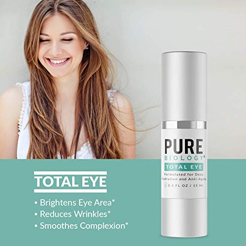 41krqdxi8NL - Pure Biology Premium Total Eye Cream Serum - Anti Aging Vitamin C, E & Hyaluronic Acid Reduce Dark Circles, Puffiness, Under Eye Bags, Wrinkles & Fine Lines for Men & Women (0.5 oz)