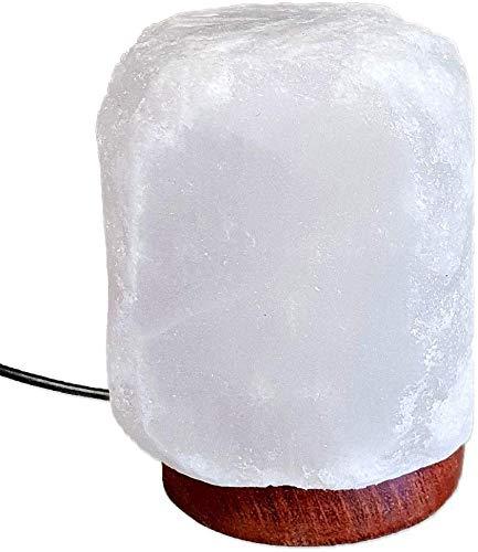 SudoreWell® witte USB Halit zoutlamp in natuurlijke vorm - hoogte ca. 10 cm