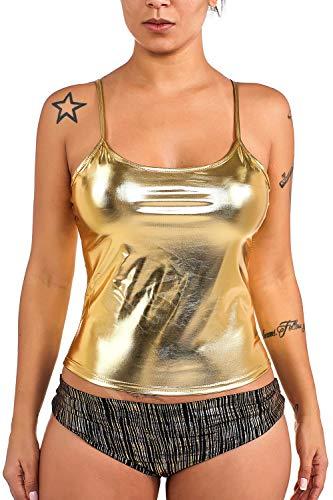 HOMENEWBEEN Women's Sexy Shiny Metallic Camisole Liquid Wet Look Tank Tops Clubwear, Gold, Medium