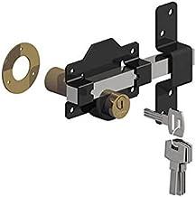 """GATEMATE® Premium Long Throw Lock - Dubbele vergrendeling, Roestvrij staal/Zwart, 2"""" (50mm)"""