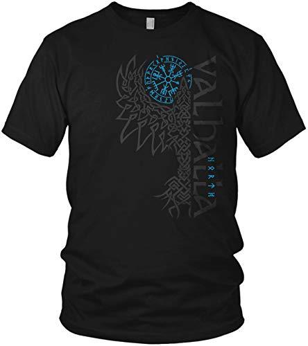 North - Rabe Valhalla Vegvisir Wikinger Walhalla Vikings Raven nordischer Kompass - Herren T-Shirt und Männer Tshirt, Größe:XXL, Farbe:Schwarz/Blau