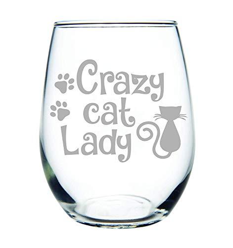 Crazy Cat Lady Stielloses Weinglas, 325 ml