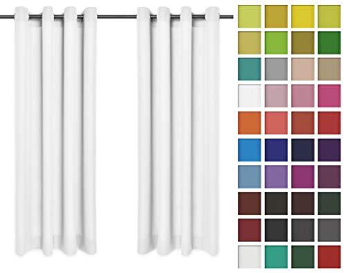 Rollmayer Vorhänge Schal mit Ösen Kollektion Vivid (Weiß 1, 135x150 cm - BxH) Blickdicht Uni einfarbig Gardinen Schal für Schlafzimmer Kinderzimmer Wohnzimmer