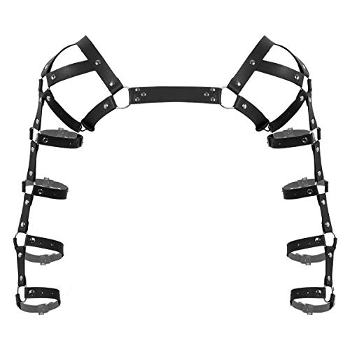 TiaoBug Gothic Punk Faux Leather Arm Caged Muscle Harness Body Chest Belt with Metal O Rings for Lingerie Night Roleplay Black One Size