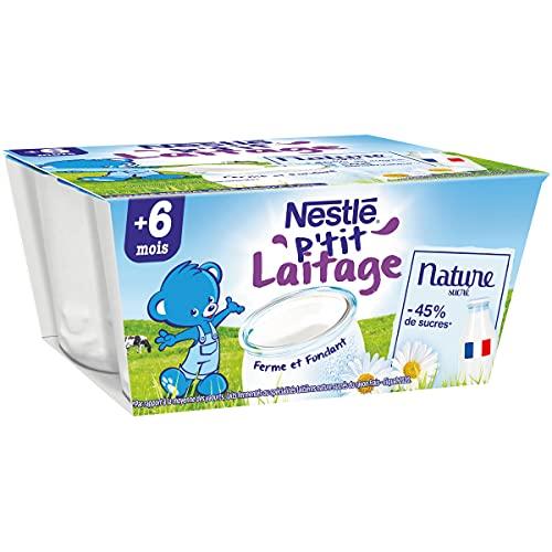 NESTLÉ Bébé - P'tit Laitage - Nature - Laitage dès 6 mois - 4x100g - Pack de 6 ( 24 Laitages )