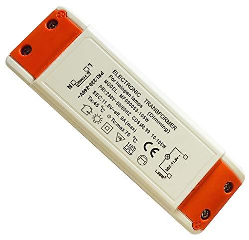 105Watt Elektronischer Halogen Trafo Transformator Dimmbar für Niedervolt Halogen LM - Leistungsbereich: 10 bis 105Watt