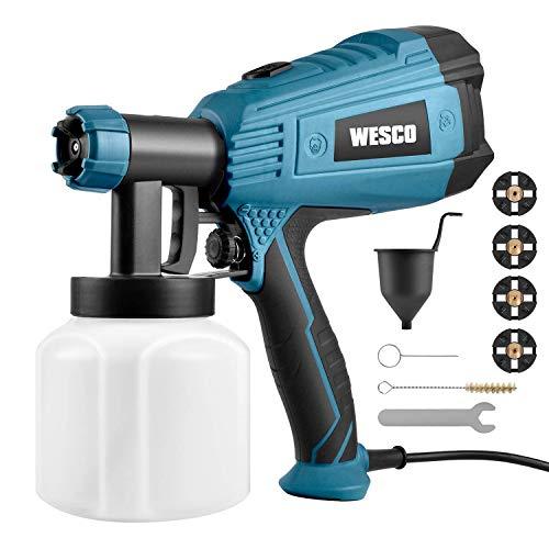 Farbsprühsystem,WESCO 500W 800ml/min Elektrisches Farbspritzpistole mit 3 Düsen (1,5/1,8/2,0 mm) und 3 Spritzmuster für Lacke, Lasuren und Farbmengenregulierung