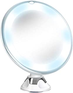 🍀Libobo🍀Flexible Mirror Lighted 10X Magnifying Makeup Mirror Power Locking Suction Cup