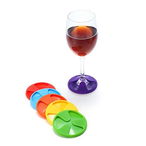 ODN 6pcs Couleur aléatoire Marque-Verres en Silicone à Vin Boisson Accessoire de Fête et Soirée