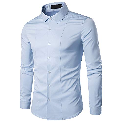 Jinyuan Camisa para Hombre Slim Fit Manga Larga Camisa Formal EláStica Camisas Casuales con Botones para Hombres