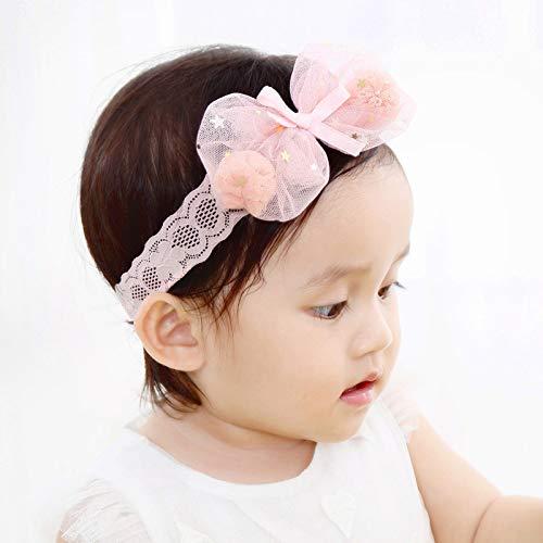 Kercisbeauty Baby Girls Stars Sequins Bows Tie Headband Lace Headwear for Toddler Babies Elastic Adjustable Head piece Wreath Halloween Holiday Sunday Headband (Pink)