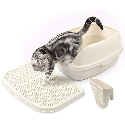 ZCY kattenbak, deodoriserende en extra grote anti-spatten zand wastafel kat toilet voor kittens en katten, M