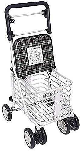 GANE Andador con Ruedas,Ayuda para Caminar de Movilidad para Adultos Mayores Ayuda para Caminar de Movilidad Plegable,4 Ruedas para Caminar,Asiento Ajustable en Altura Ancianos de Aluminio Ancianos
