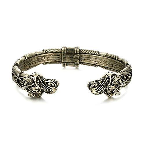 Das große handgefertigte Armband, Viking Wolf Head Armband Armreif, nordische Metall Armring Modeschmuck Männer und Frauen (Kupfer)