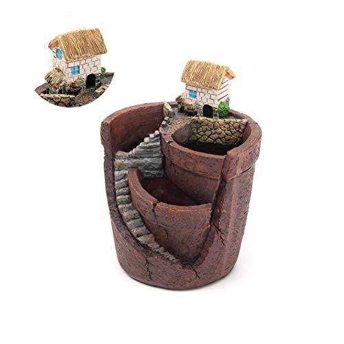 1 pezzo vaso da giardino per piante grasse, Vaso da Fiori Decorativo, in stile vintage, bonsai, decorazione da giardino, in resina con miniatura, per interni ed esterni(marrone)
