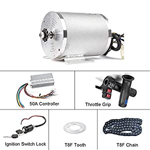 Electric Bikes BLDC 72V 3000W Brushless Motor Kit with Hard start 50A Controller and Reverse Grip Throttle for Electric Scooter E Bike…