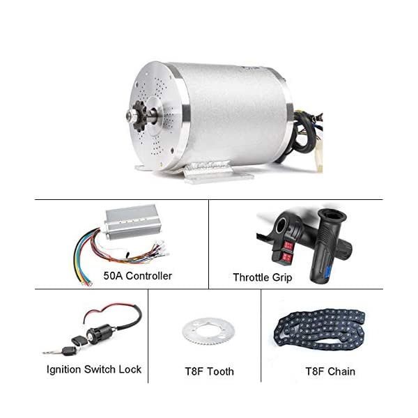 Electric Bikes BLDC 72V 3000W Brushless Motor Kit with Hard start 50A Controller and Reverse Grip Throttle for Electric Scooter E Bike Engine Motorcycle DIY Part Conversion Kit [tag]