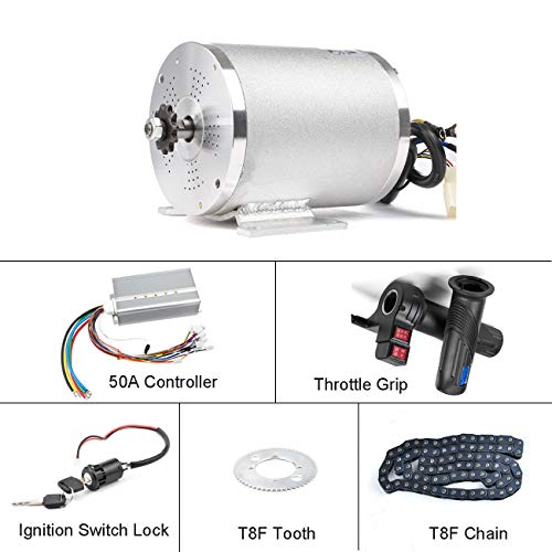 BLDC 72V 3000W Brushless Motor Kit with Hard start 50A Controller and Reverse Grip Throttle for Electric Scooter E Bike Engine Motorcycle DIY Part Conversion Kit (72V 3000W Motor Kit)