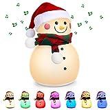 Veilleuse LED, Achort mignon bonhomme de neige LED veilleuse avec musique et 7 couleurs changeantes respiration portable lampe de pépinière cadeau rechargeable lumières de Noël