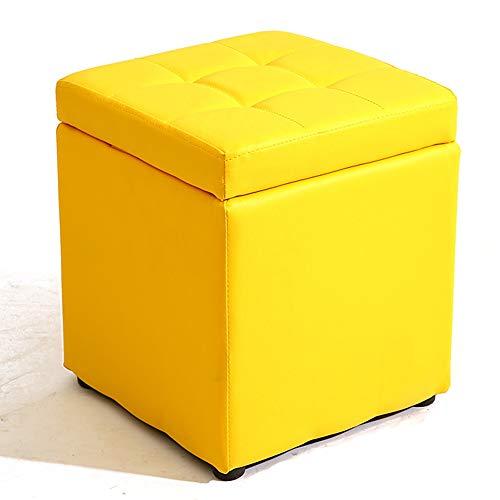 Ändern Sich die Schuhe HockerZHANGQIANG Kurze Aufbewahrung Ledersofa Für Die Flügeltür Wechseln Der Schuhe Flip-Cover Wasserdicht Leicht Zu Reinigen (Color : Yellow, Size : 30 * 30 * 35cm)