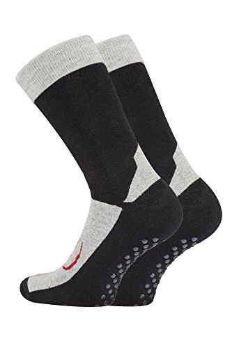 TippTexx 24 2 Paar Homesocks, ABS-Socken, Stopper-Socken, Anti-Rutsch-Socken (39-42, grau-schwarz)