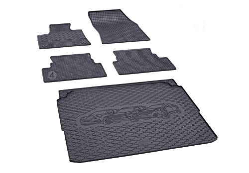 Bac de coffre et tapis de sol en caoutchouc sur mesure pour Peugeot 3008 à partir de 2016 En 1 jeu