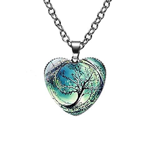 Collar de árbol divergente Vintage pintura de arte de inspiración divergente collar con colgante de corazón de cristal de Murano árbol de la vida