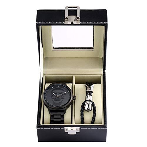 Reloj de pulsera de acero inoxidable con diseño de calavera 3D para hombre con diseño de calavera, resistente al agua, con cuerda, para hombre, caja de regalo