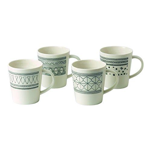 Royal Doulton 40030152 Ellen DeGeneres - Set di 4 tazze in porcellana, 475 ml, colore: Grigio antracite