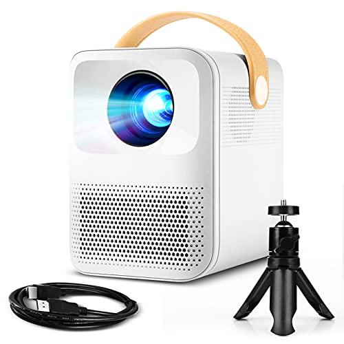 Mini proyector, Podor proyector 720P, cine en casa, doble altavoz, 60.000 horas LED proyector, compatible con TV Stick, HDMI, USB, PS4, Xbox, proyector de vídeo iOS/Android