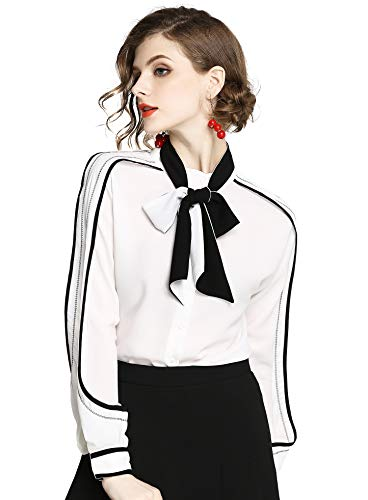 DOVWOER Elegant Damen Bluse mit Schleife Langarm Button-Down Stehkragen Hemd Frauen Blumenmustern Oberteil,Style-16, 42