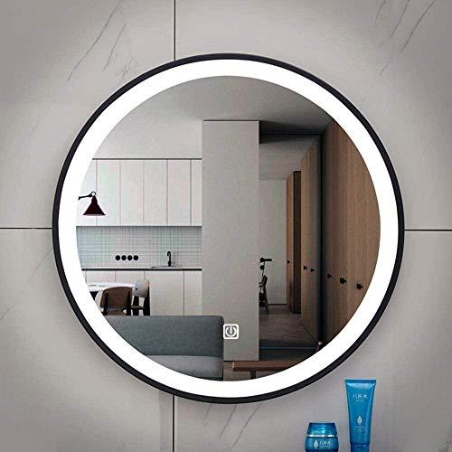 Cornice Nera Single Touch Luce Bianca a LED Specchio Rotondo Specchio Rotondo per lavabo Specchio da Bagno Smart Specchio da Bagno 50X50CM-60X60 CM Uptodate